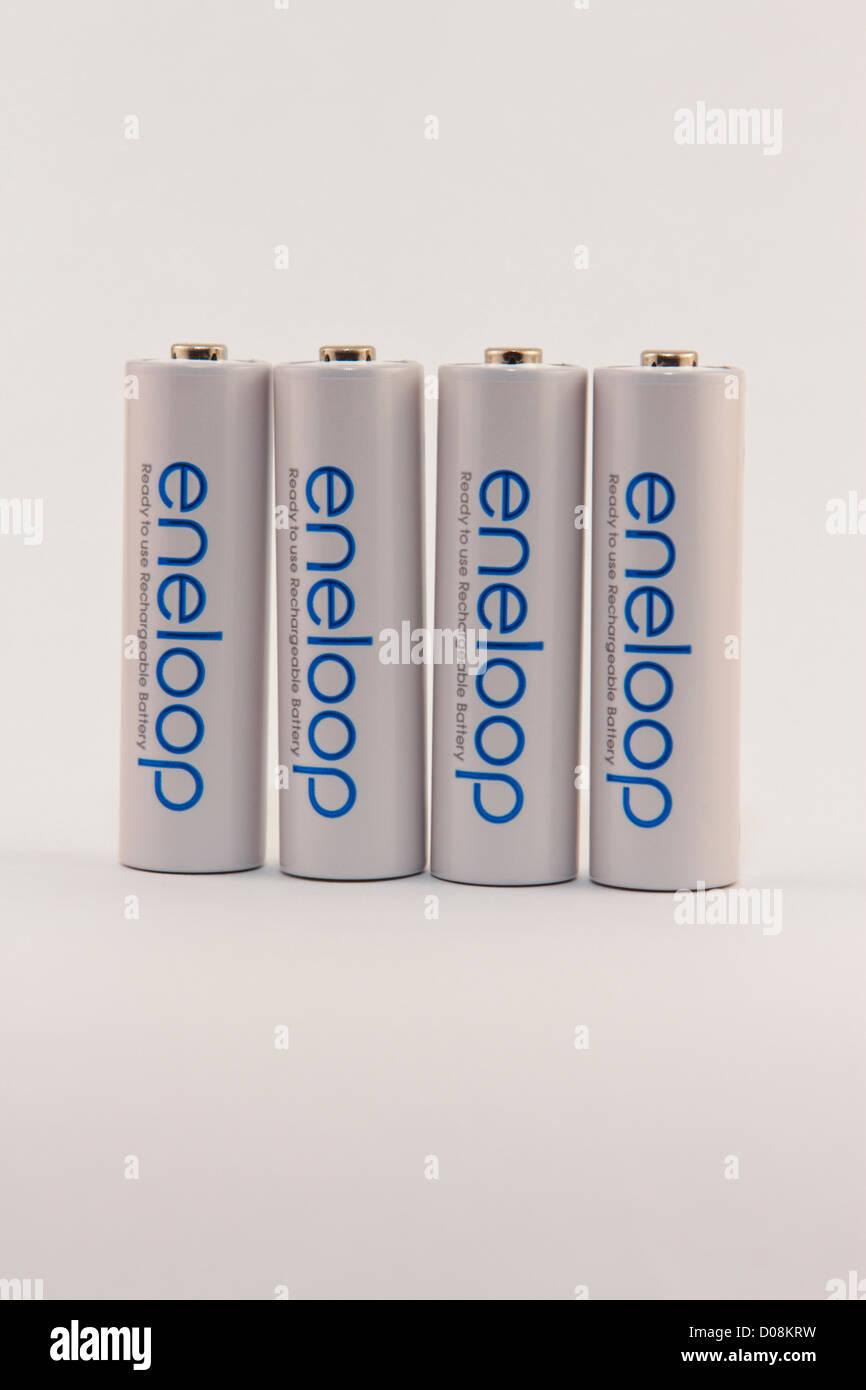 Sanyo Eneloop Ni-MH Nickel–metal hydride rechargeable AA bateries - Stock Image