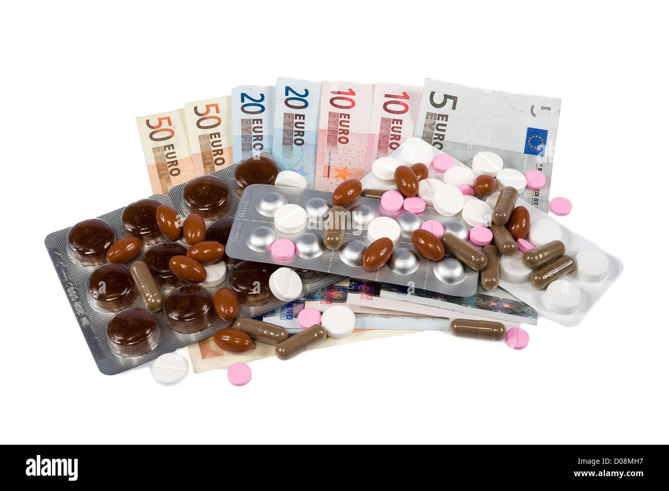 Medicines and pills on euro paper money - Stock Image
