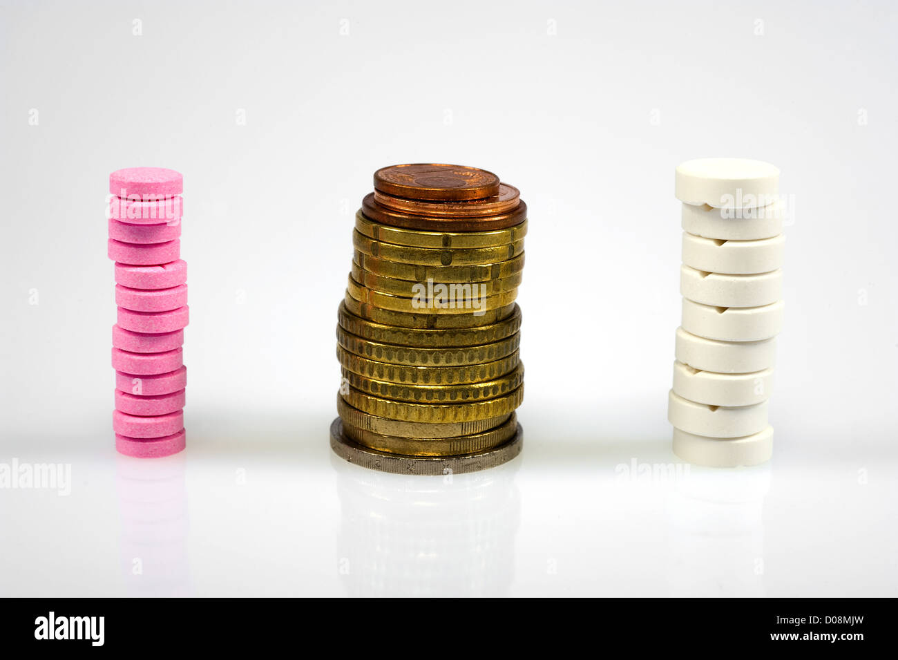 Stapled euro coins between pills and medicines - Stock Image