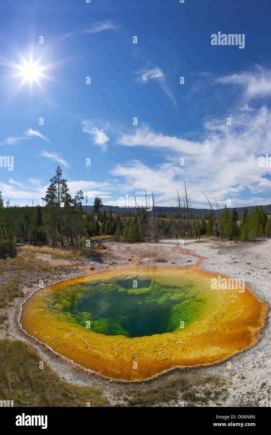 Morning Glory Pool, Upper Geyser Basin, Yellowstone National Park, Wyoming, USA - Stock Image