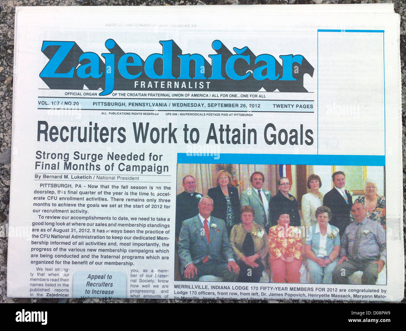 Cover of Zajednicar - Fraternalist - newspaper from Pittsburg, USA. Fraternalist is nwespaper by Croatian Fraternal - Stock Image