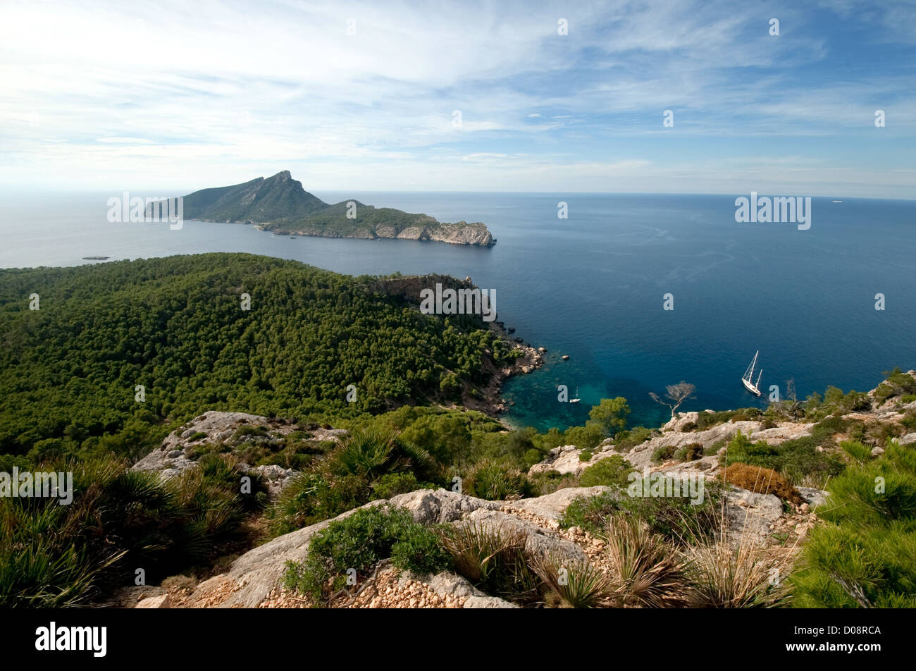 Sa Dragonera, uninhabited rocky island off Majorca, pedestrian walkways, Balearic Islands, Spain, Europe - Stock Image