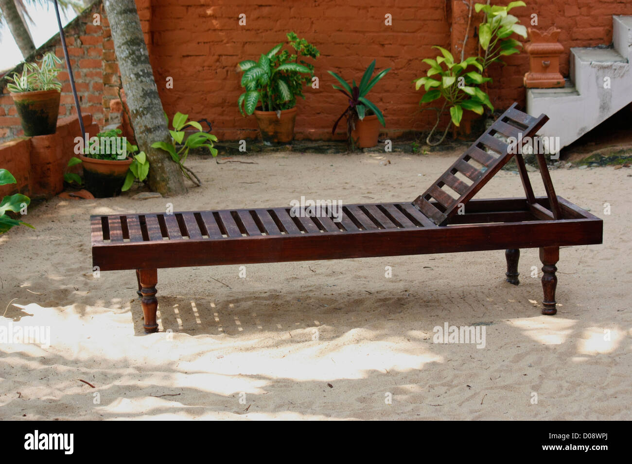 Bench on a tourist resort for resting and taking sunbath - Stock Image
