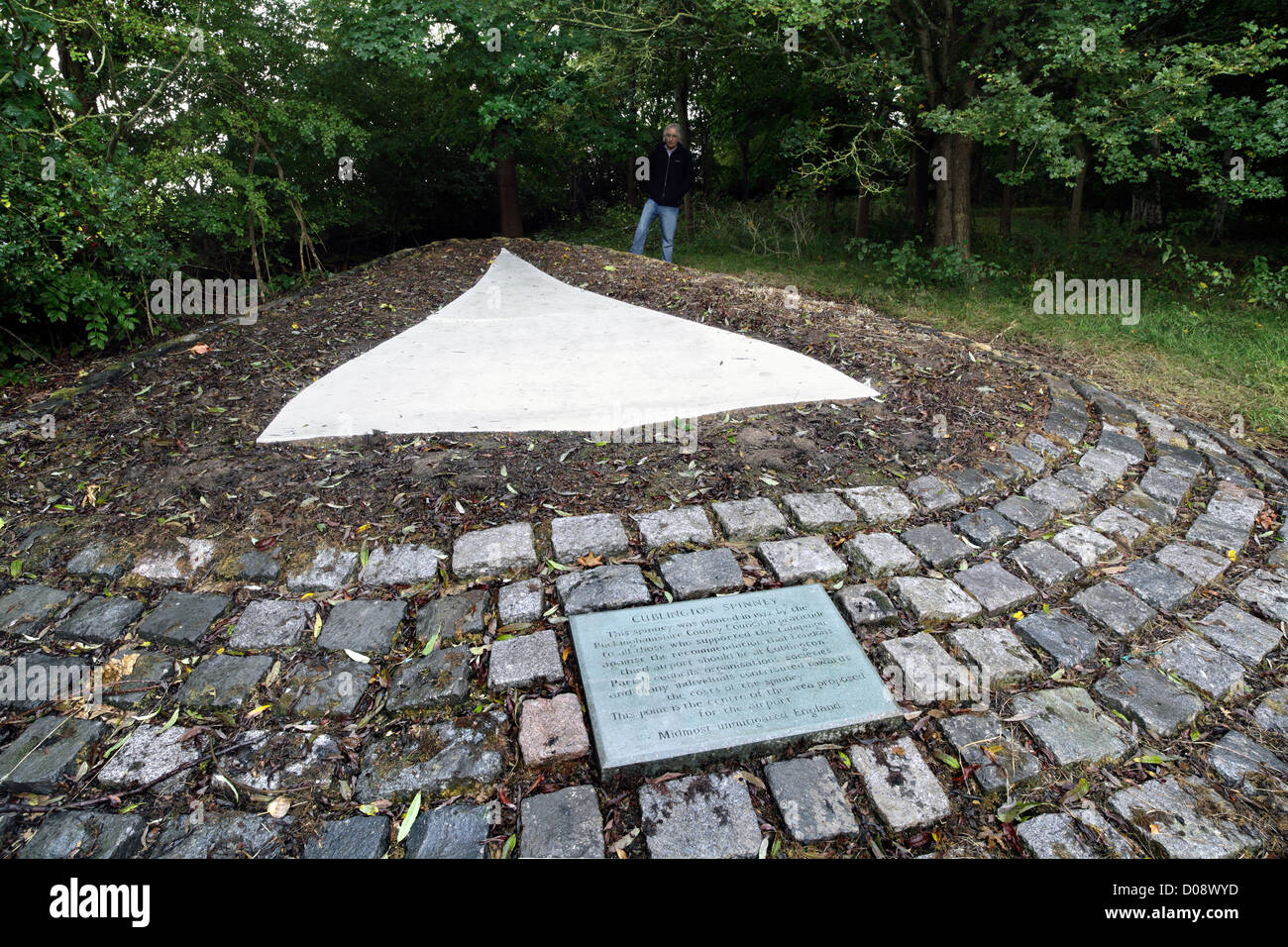 The 1972 monument, in the shape of a Concorde, to the successful campaign to stop a new London airport near Cublington, - Stock Image