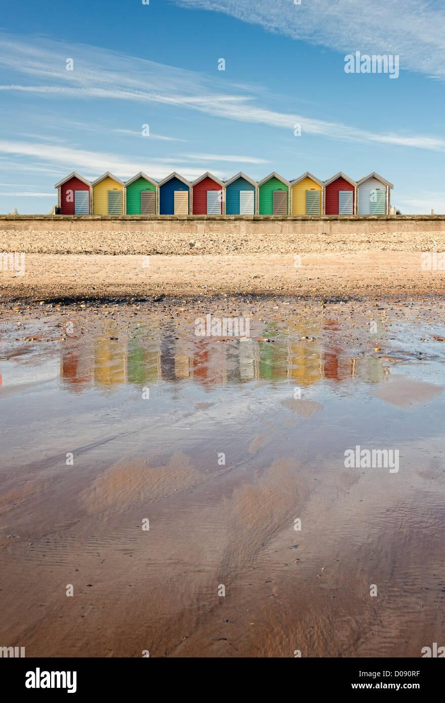 Beach Huts at Blyth in Northumberland - Stock Image