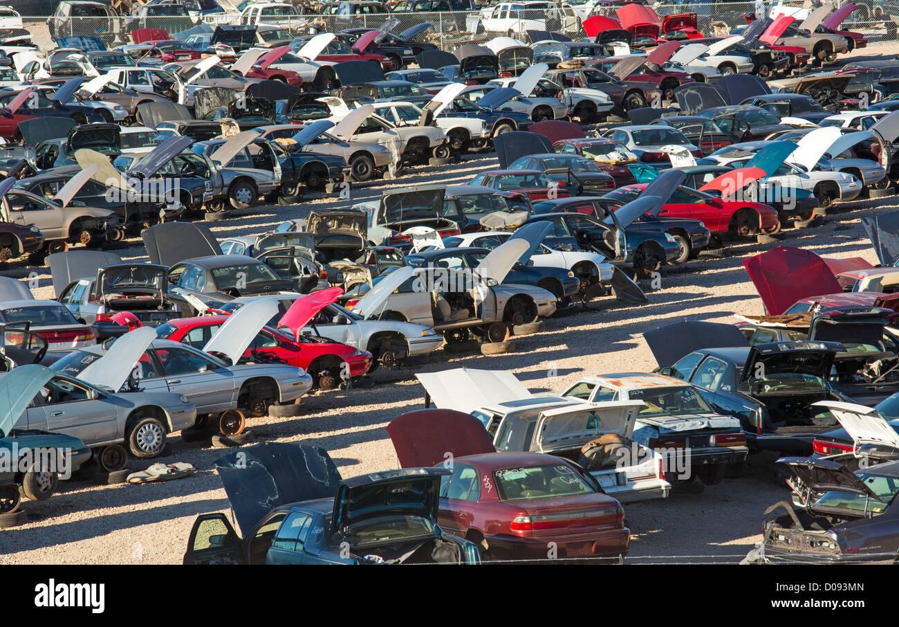 Alexandria, Louisiana - Junk cars at a scrap yard. Usable parts will ...