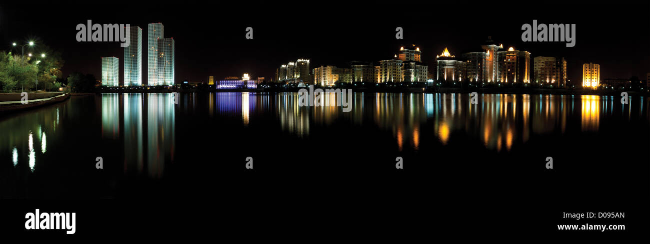Astana. kazakhstan night panorama - Stock Image