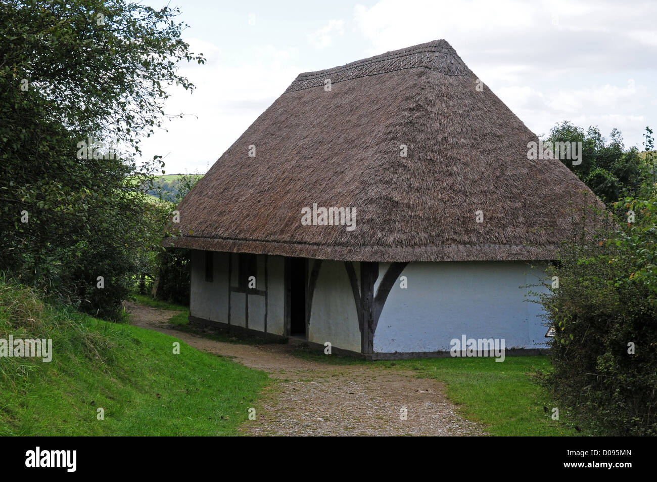 Early fifteenth century Hall from Boarhunt reconstructed at the Weald And Downland Open Air Museum. - Stock Image