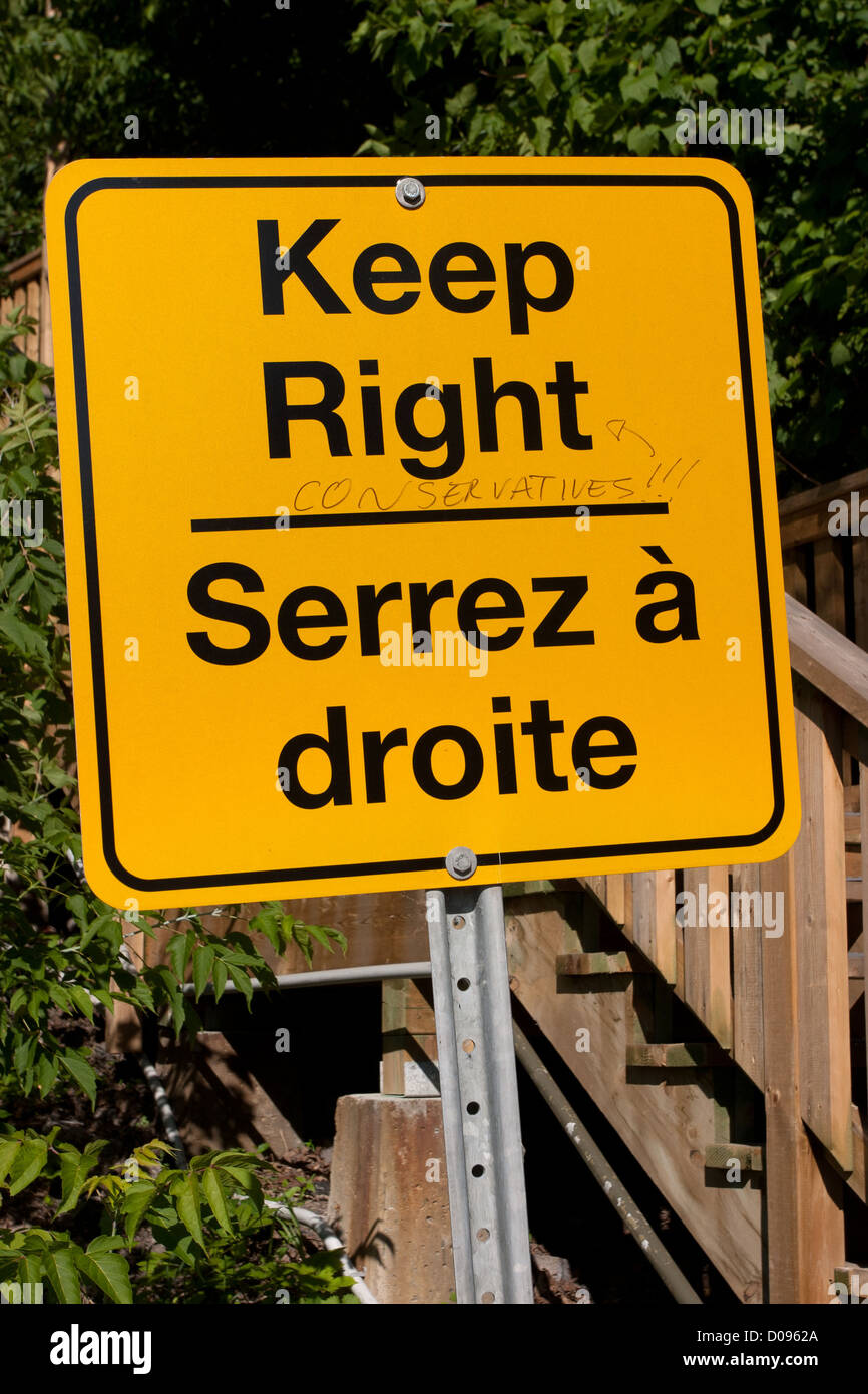 POLITICAL GRAFFITI MOCKING THE CONSERVATIVES ON A ROAD SIGN REMINDING DRIVERS TO STAY ON THE RIGHT OTTAWA CANADA - Stock Image