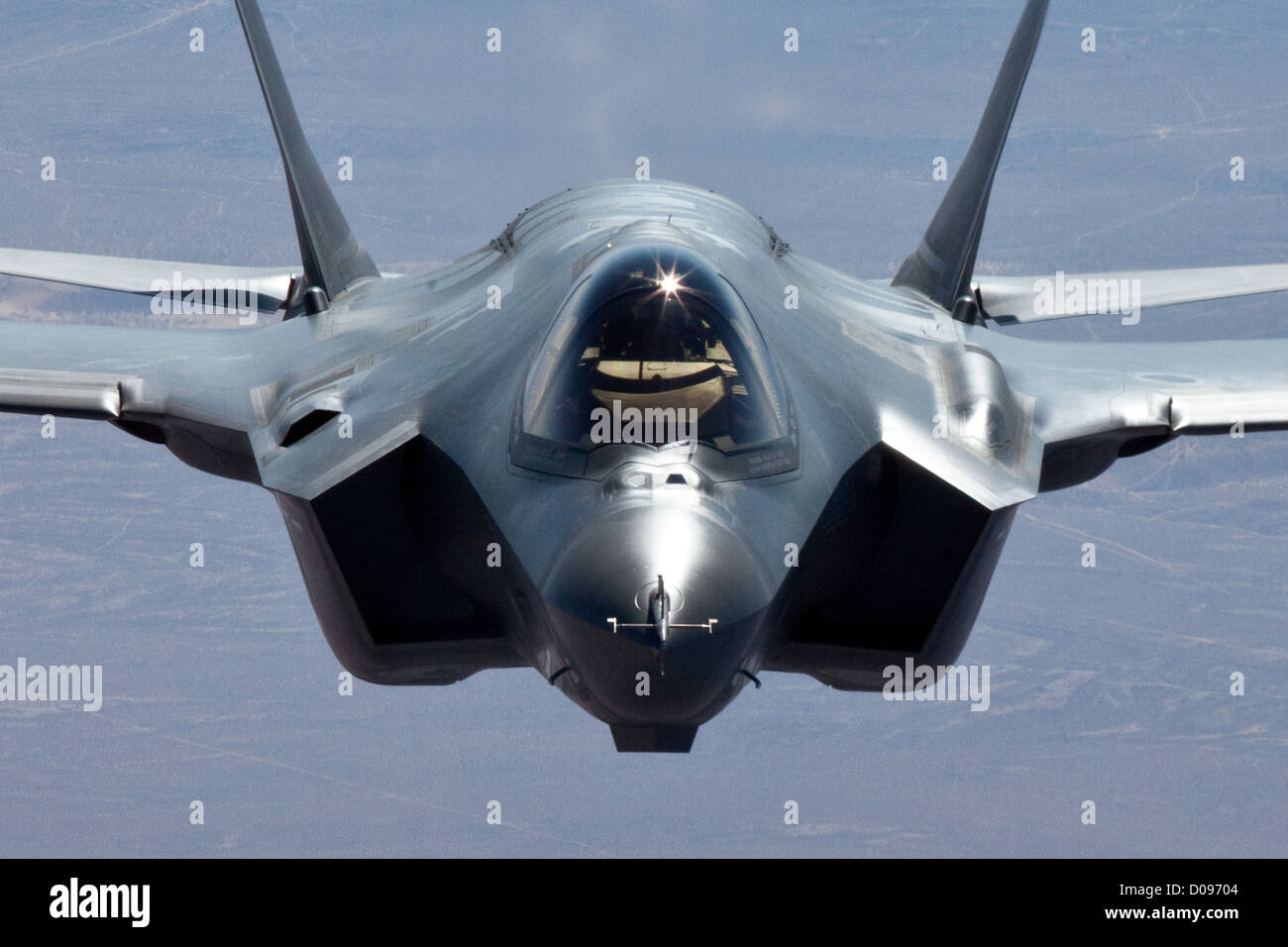 F-35A test aircraft AF-4, captured during refueling from the U.S. Air Force tanker - Stock Image