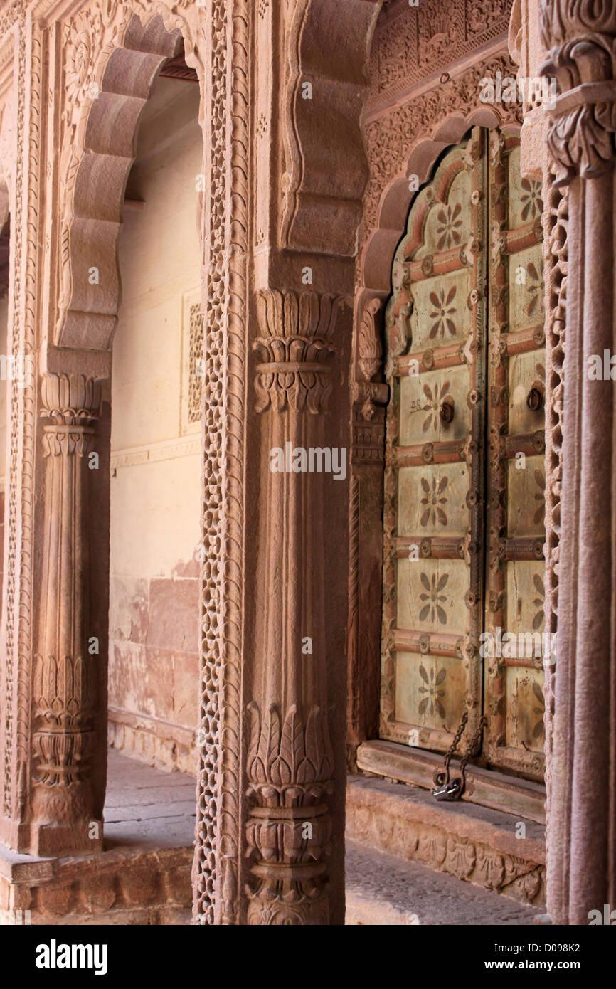 Rooms of courtesan and servants Jodhpur fort Rajasthan India - Stock Image