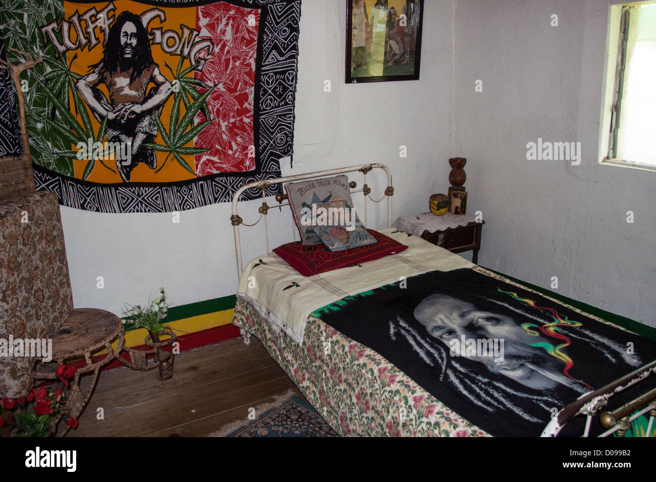 JAMAICAN REGGAE MUSICIAN BOB MARLEYu0027S (1945 1981) BEDROOM AS CHILD WHEN HE  LIVED HIS GRANDMOTHER BOB MARLEY CENTRE MAUSOLEUM