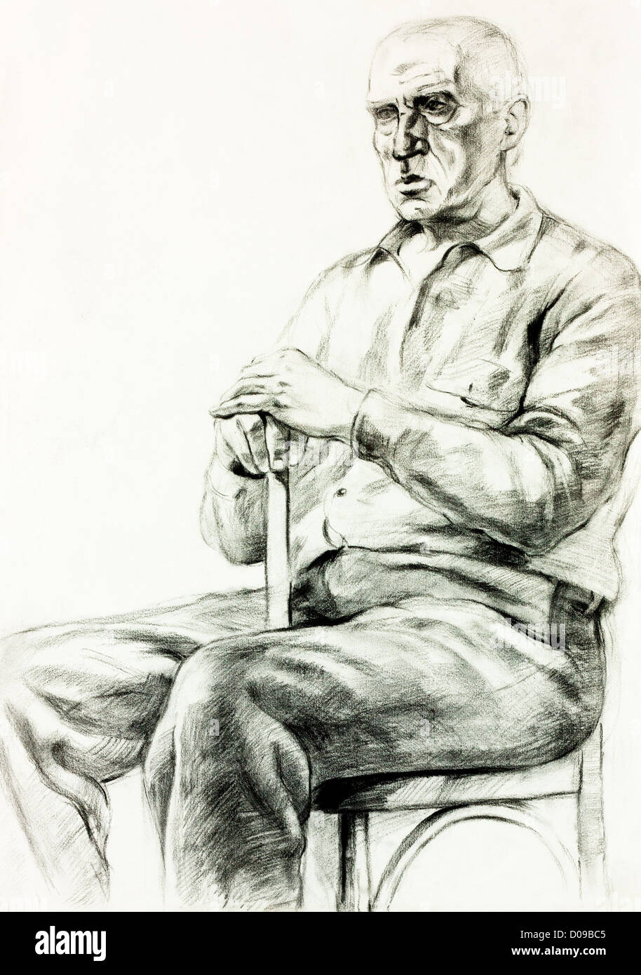 Original pencil or drawing charcoal and hand drawn painting or working sketch of a man sitting in a chair free composition