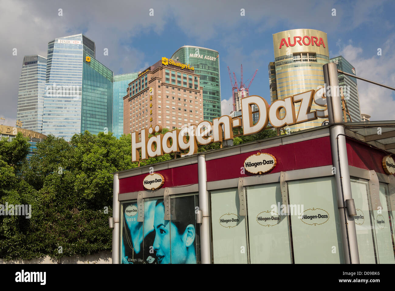 A Haagen Daz ice cream kiosk in Pudong, Shanghai, China - Stock Image