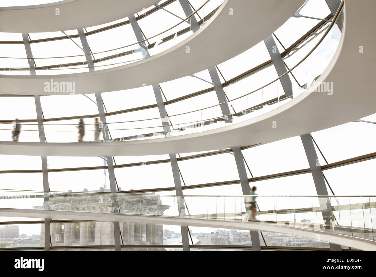 Reichstag Dome interior, Berlin modern architecture by Norman Foster - Stock Image