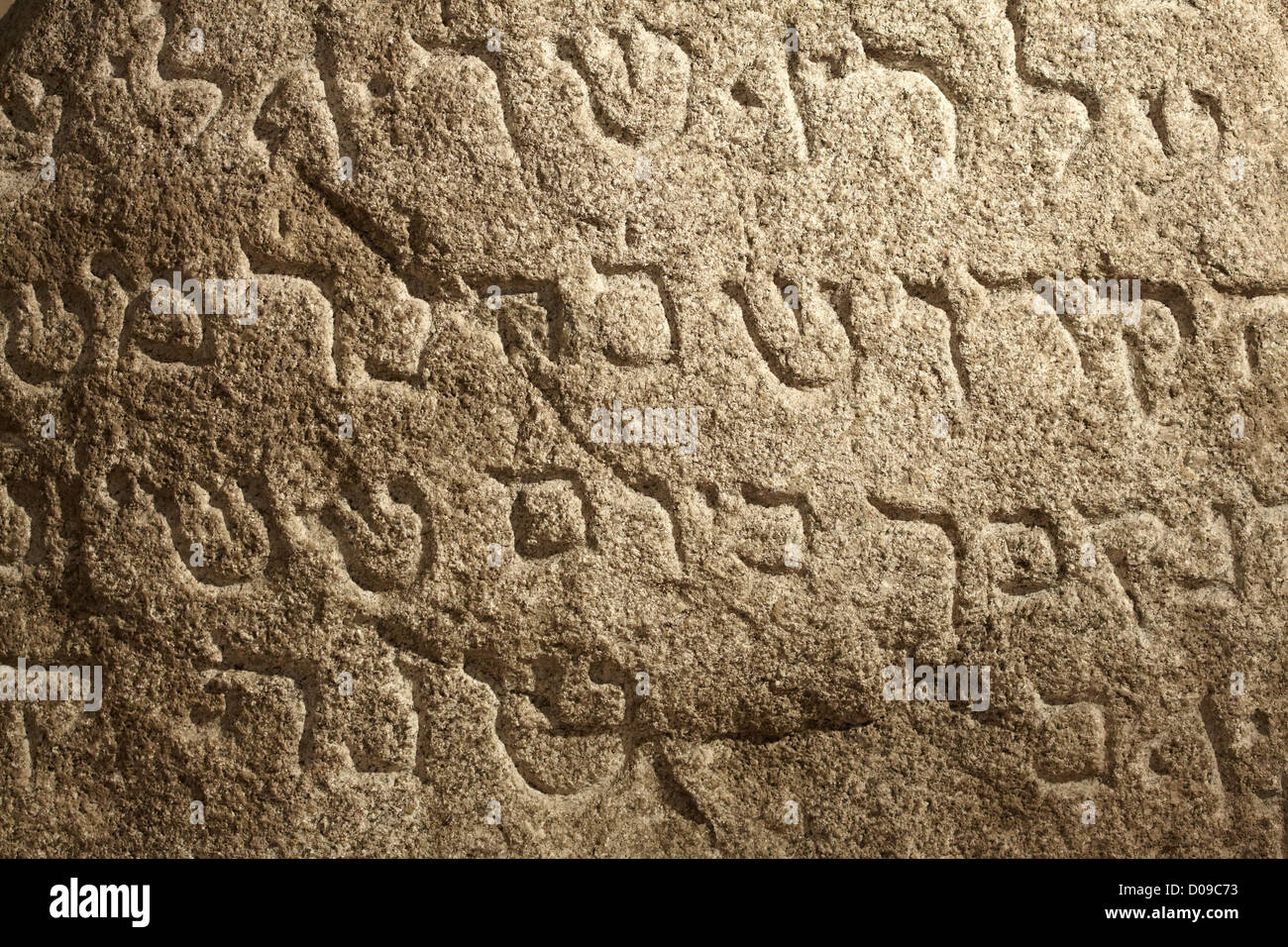Jewish ancient holy writings on stone surface - Stock Image