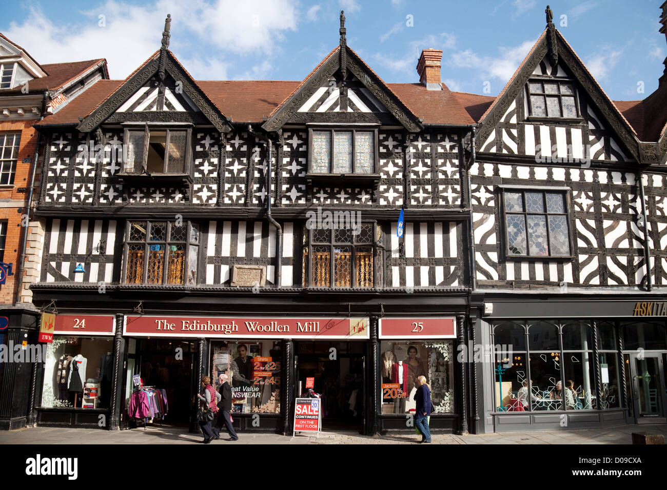 Medieval half timbered buildings in Shrewsbury city centre, Shropshire UK - Stock Image