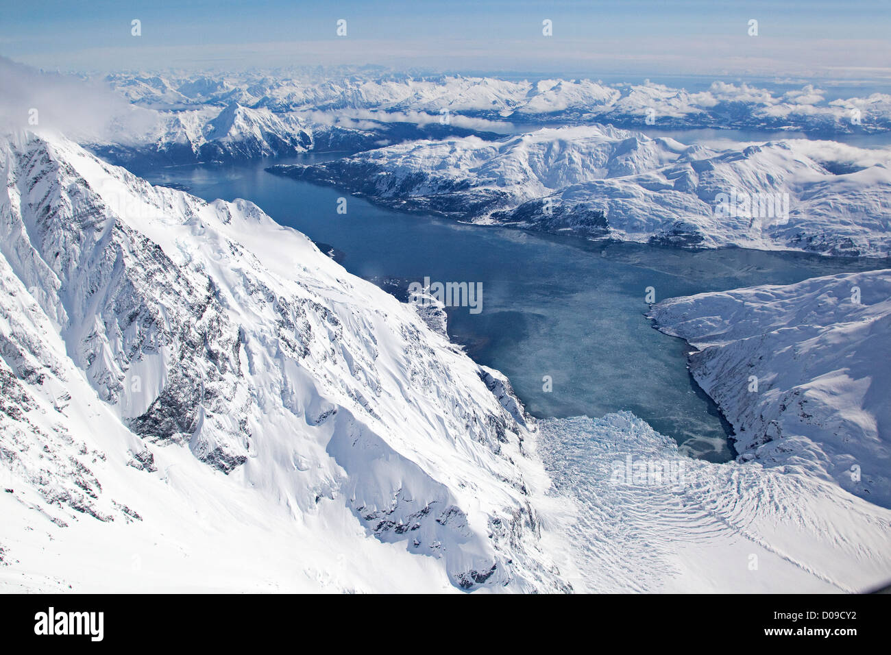 Aerial view of Harriman Fjord, Surprise Glacier, Chugach Mountains, Alaska, US - Stock Image