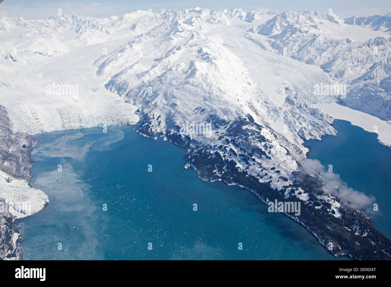 Aerial view of Harvard & Yale Glaciers, College Fjord, Chugach Mountains, Alaska US - Stock Image