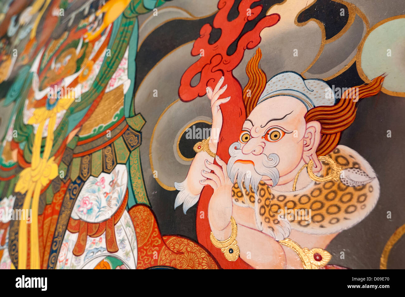 Detail from painting of Buddhist pantheon at temple entrance, Reting Monastery, Tibet, China - Stock Image