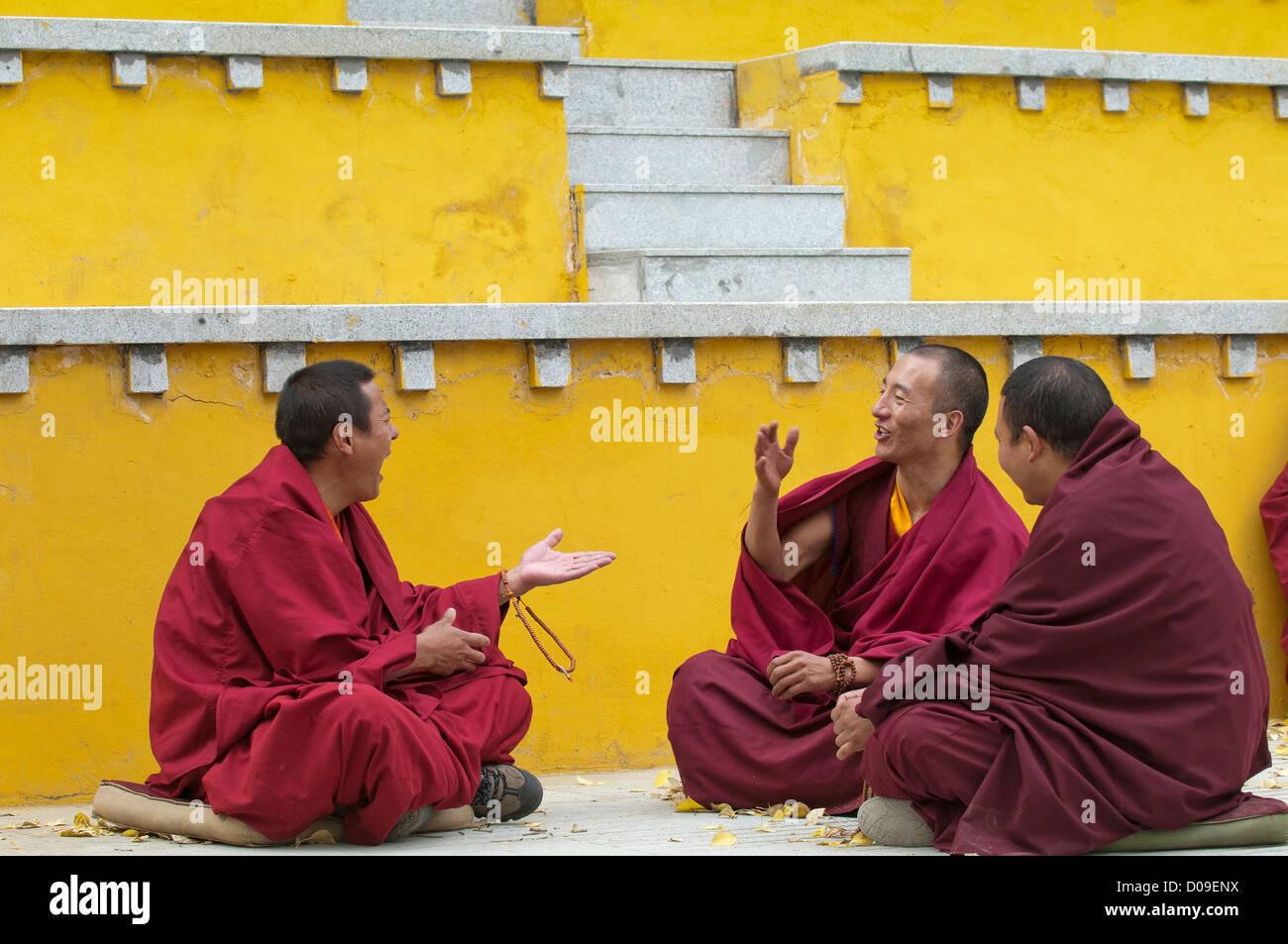 Buddhist monks engage in spirited debate, Drigung Thel Monastery, Tibet, China - Stock Image