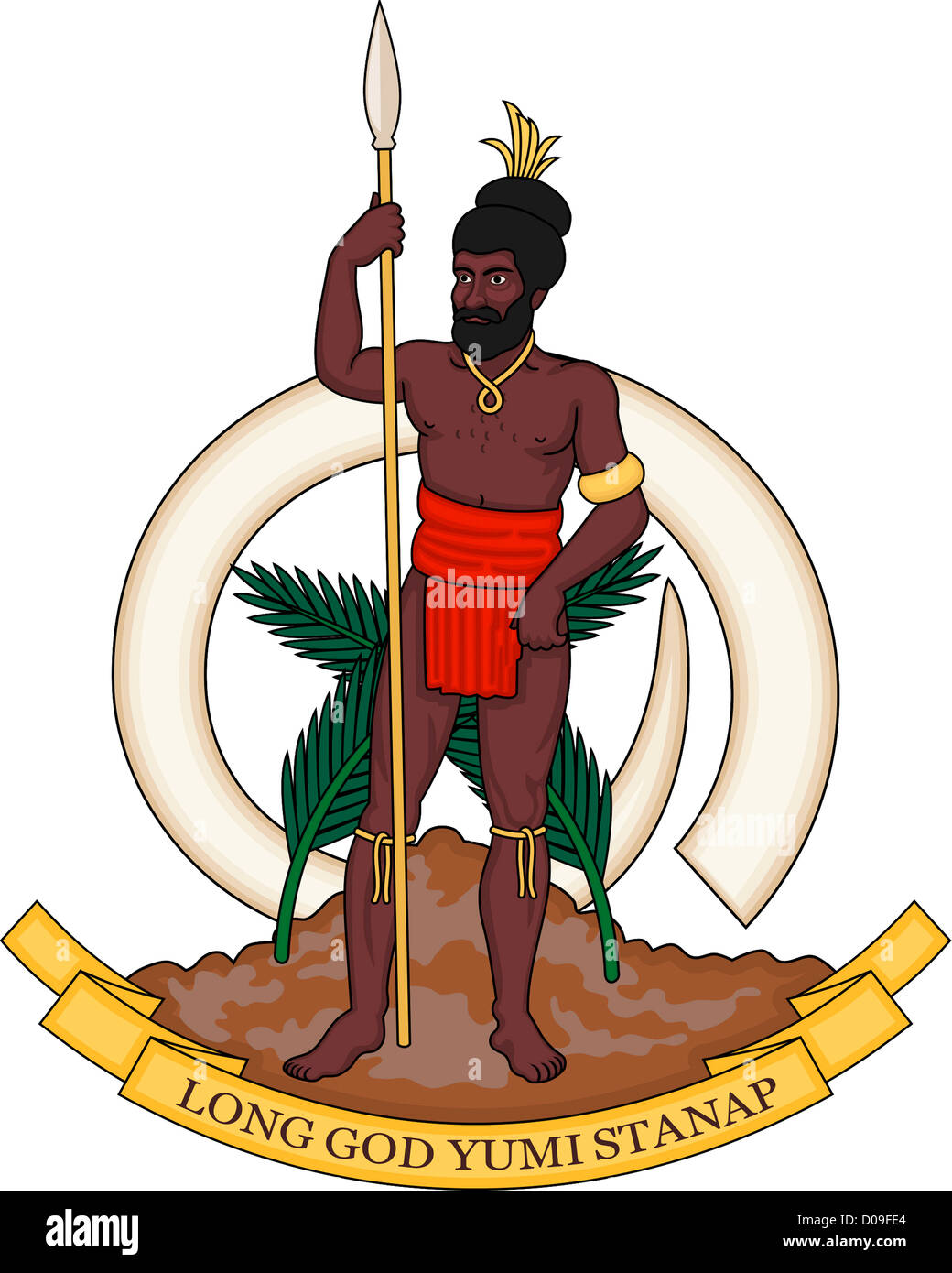 Coat of arms of the Republic of Vanuatu. - Stock Image