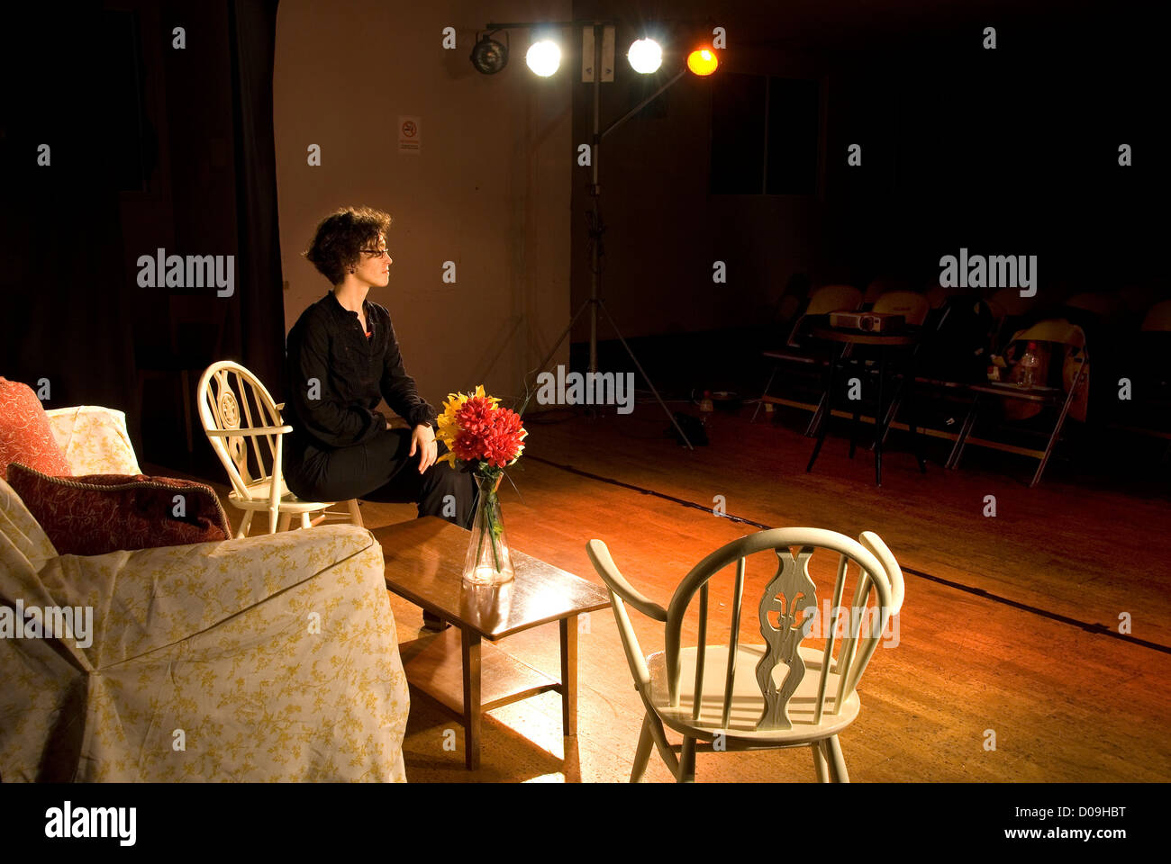 Woman on stage, theatre, England, UK - Stock Image