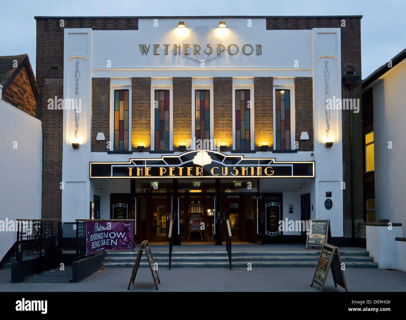 Wetherspoons Pub interior.  The Peter Cushing.  Previously a cinema and bingo hall.  Peter Cushing lived in Whitstable - Stock Image