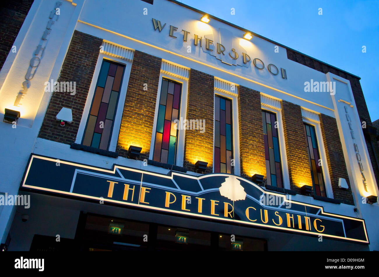 Wetherspoon Pub exterior.  The Peter Cushing Whitstable.  Previously a cinema and bingo hall.  Peter Cushing used - Stock Image
