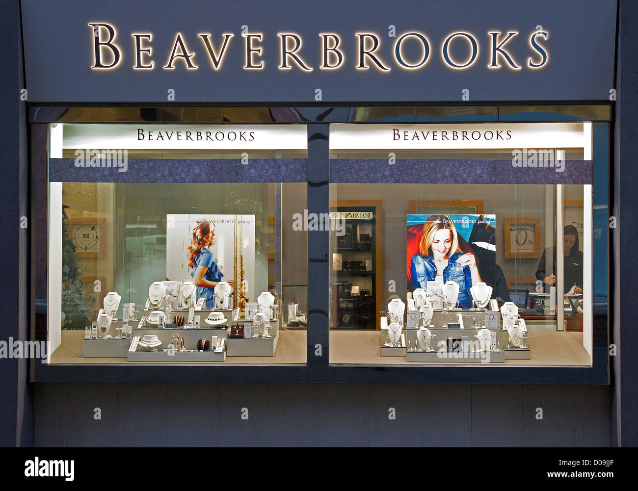 df2cc6995db Beaverbrooks Jewellers Shop Window Display Canterbury England - Stock Image