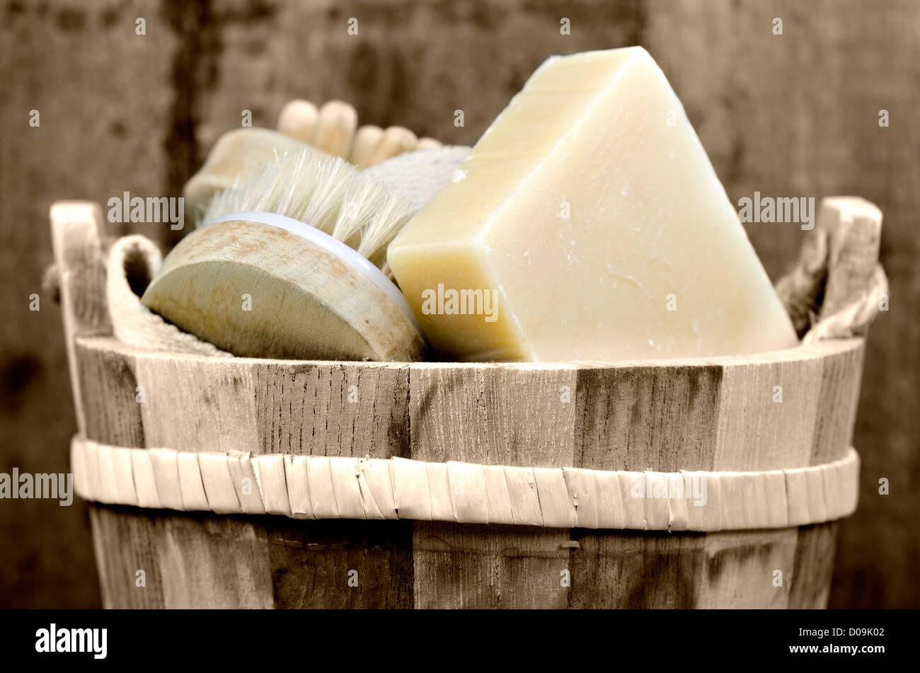 a washtub with washing accessory - Stock Image