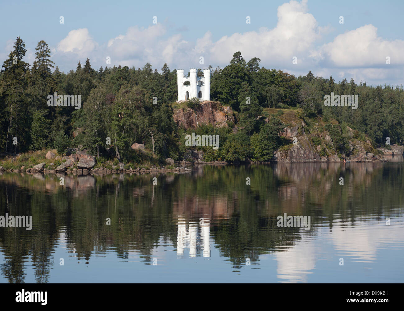The Island of the Dead in Mon Repos. Vyborg in Leningrad Oblast, Russia. - Stock Image