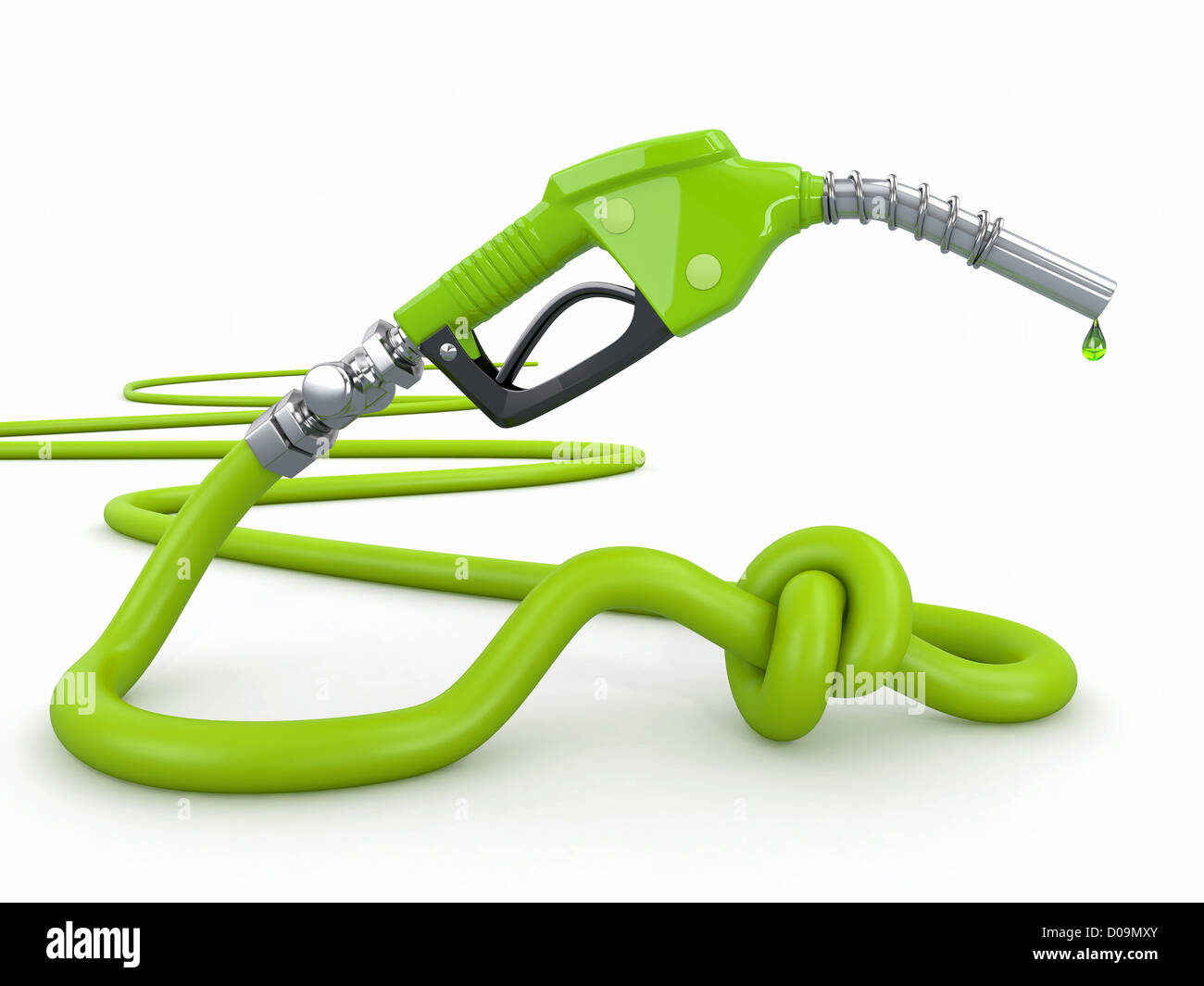 Energy crisis. Gas pump nozzle tied in a knot. 3d - Stock Image