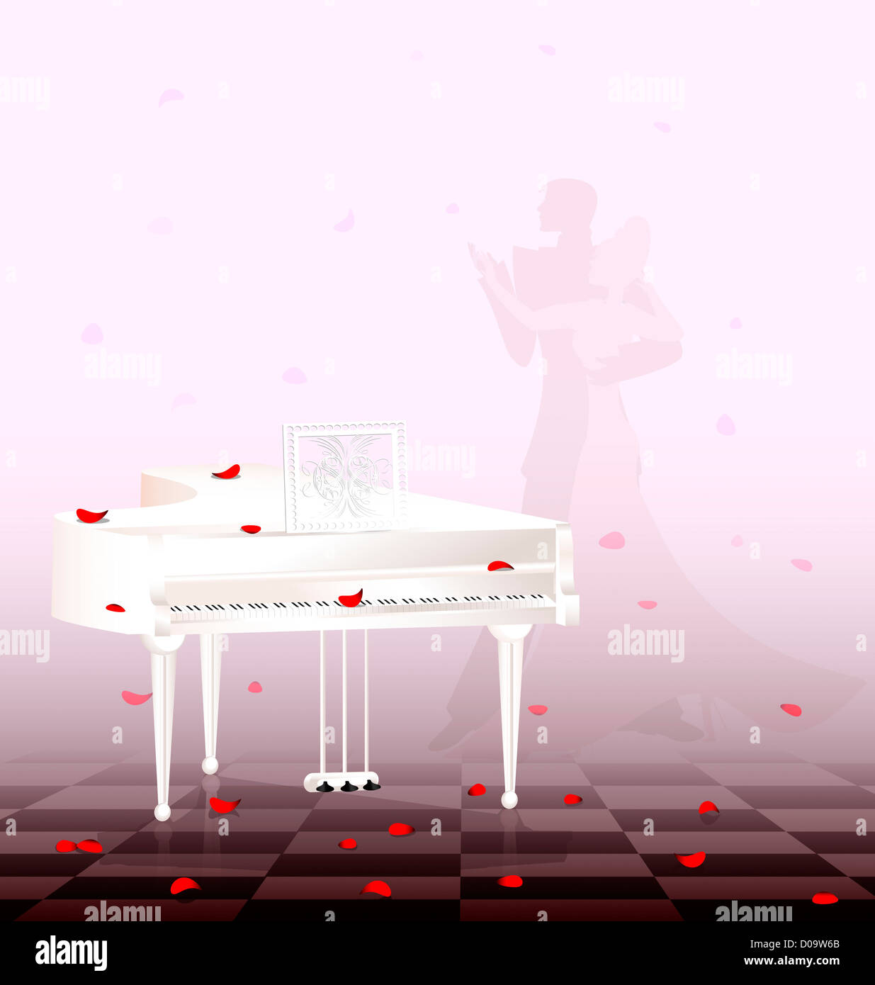 in light room are white grand piano and flying red petals - Stock Image