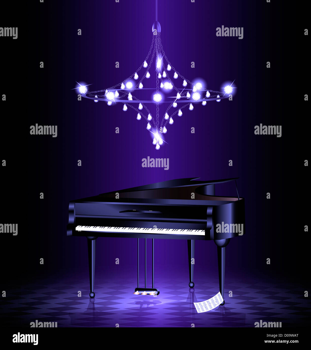 in dark room with crystal luster is black grand piano - Stock Image