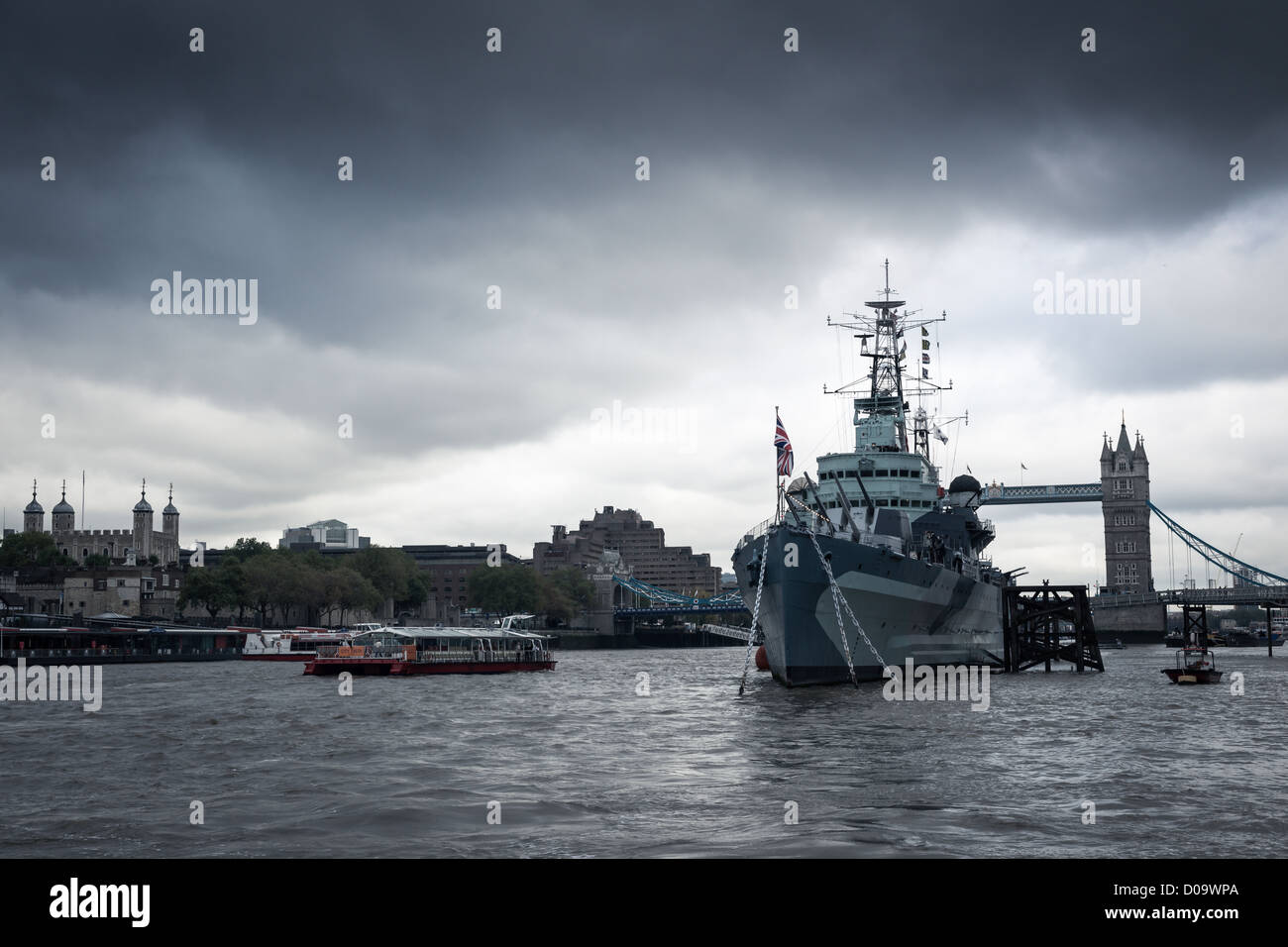 HMS Belfast - River Thames, London - England - Stock Image