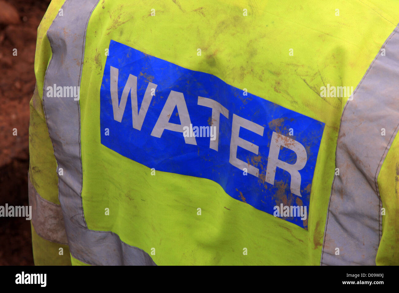 high vis vest with Water written on it - Stock Image
