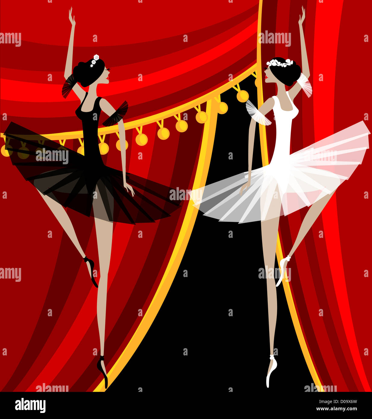 Against Red Curtain Dancing Black And White Ballet Dancers
