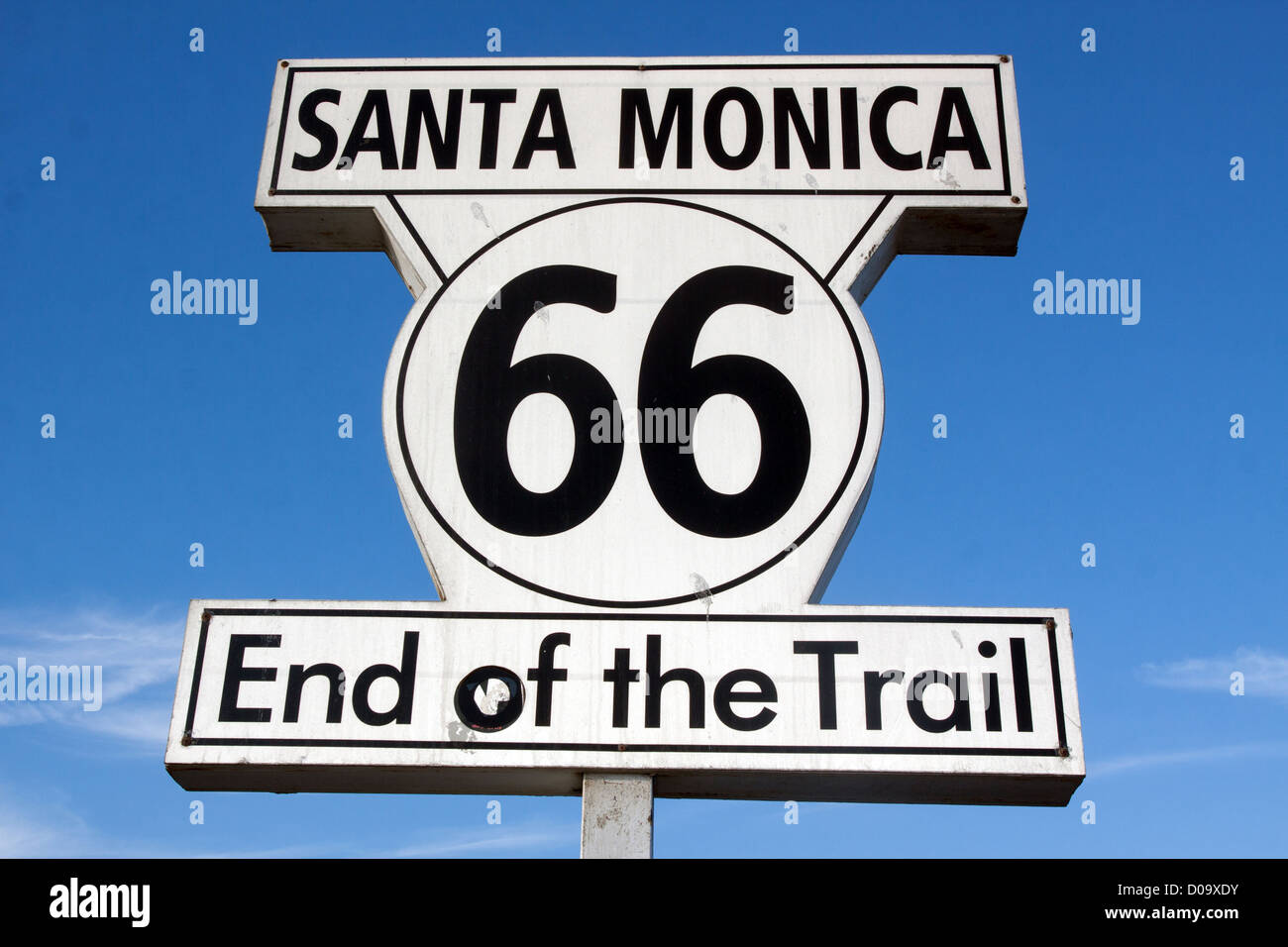 SIGN ON SANTA MONICA PIER INDICATING THE END OF ROUTE 66 SANTA MONICA LOS ANGELES CALIFORNIA UNITED STATES USA - Stock Image