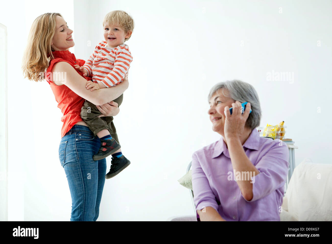 FAMILY INDOORS - Stock Image