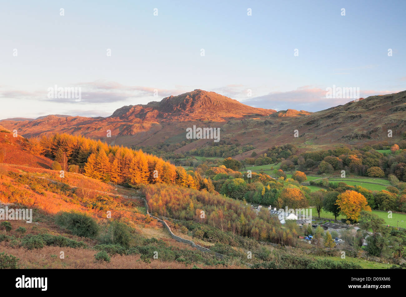 View of Harter Fell and Eskdale from Little Barrow, in evening autumn sunlight, English Lake District - Stock Image