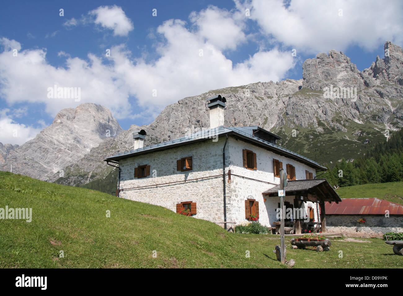 Rifugio Baion Marmarole Italian Dolomites Italy Stock Photo