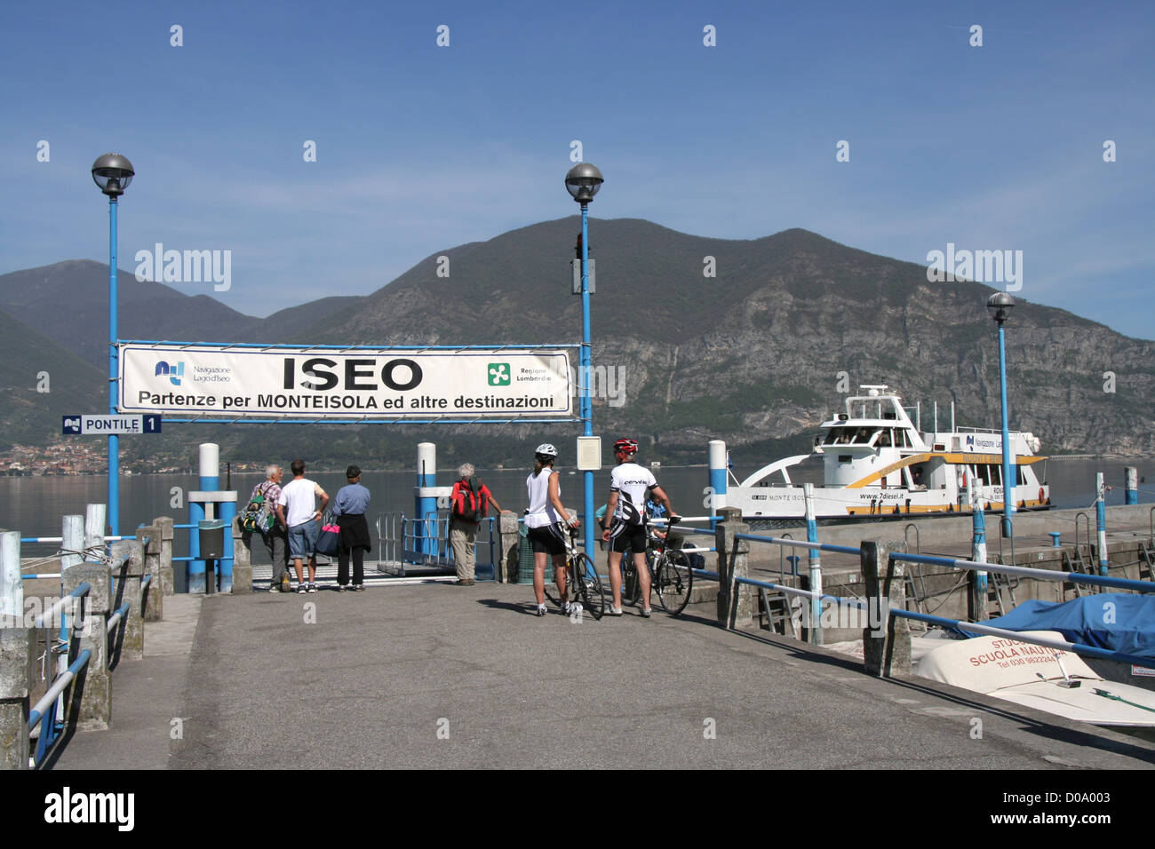 Iseo landing stage for ferry on Lago d'Iseo, Italy - Stock Image