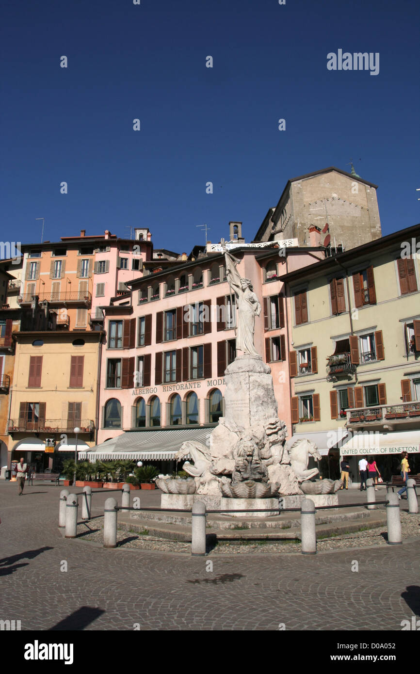 town square of Lovere, upper Lago d'iseo Lombardy Italy - Stock Image