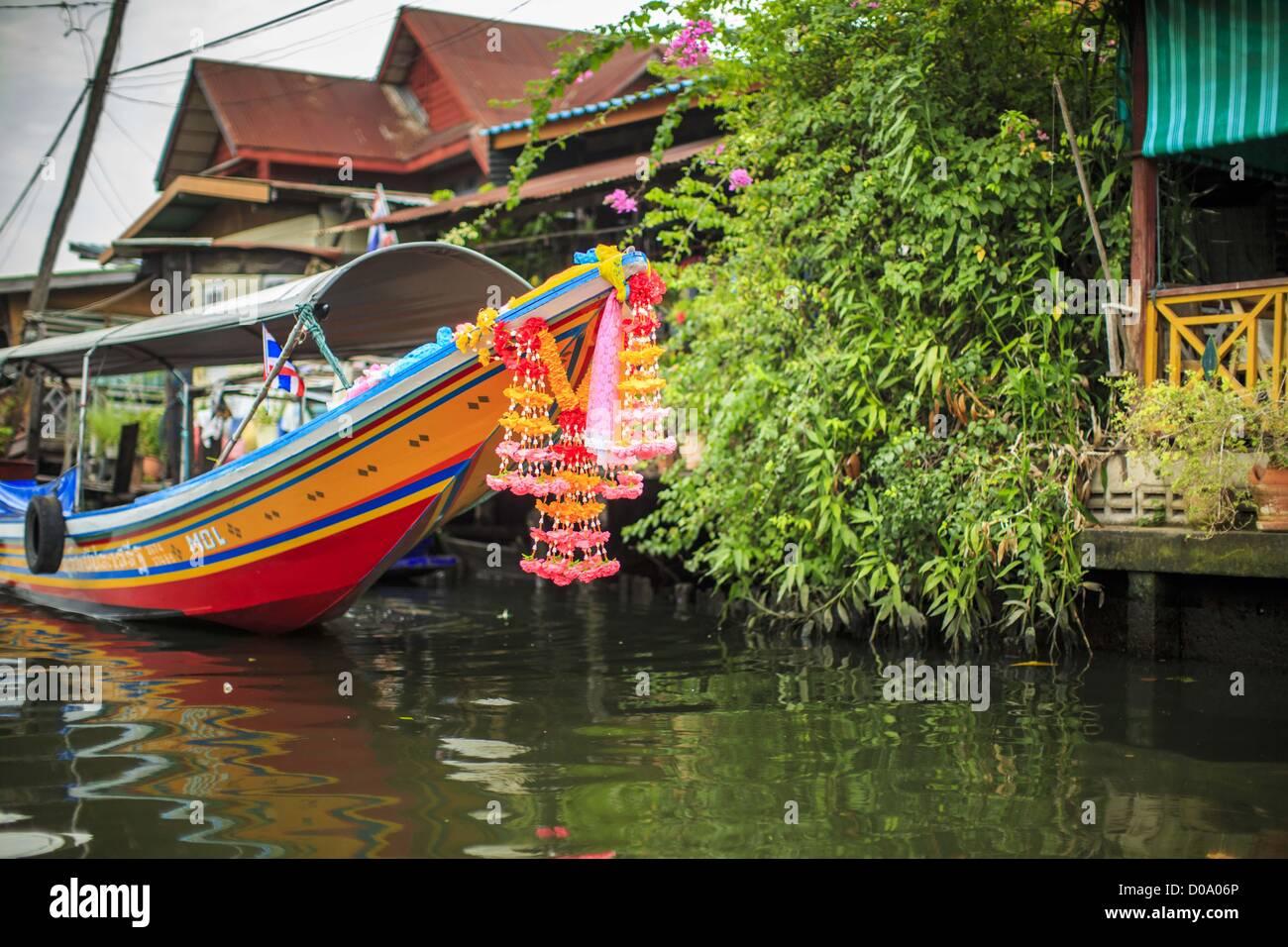 Nov  17, 2012 - Bangkok, Thailand - A ''long tailed'' boat tied up
