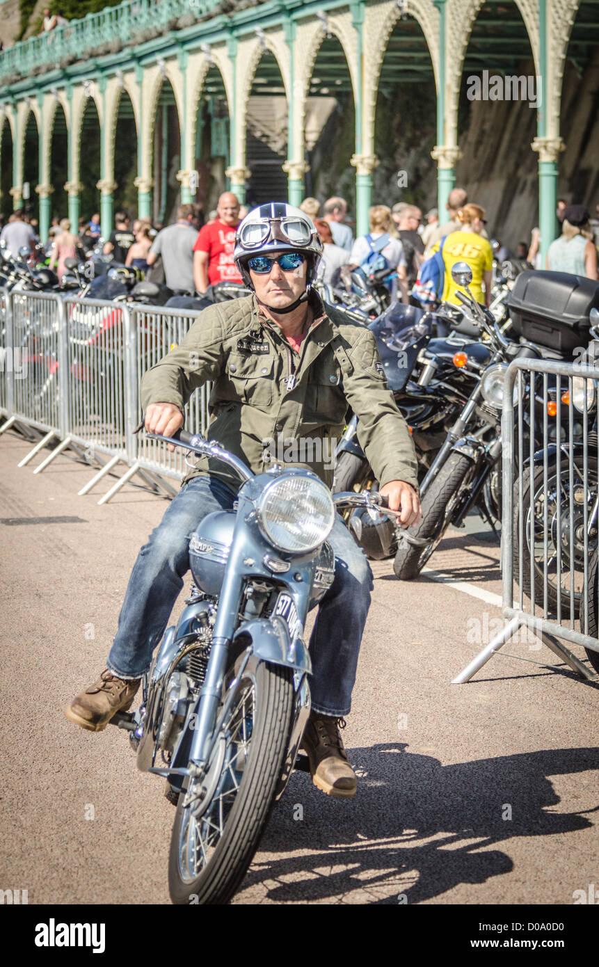 Biker at Brighton Ace Café Bike Run - Stock Image