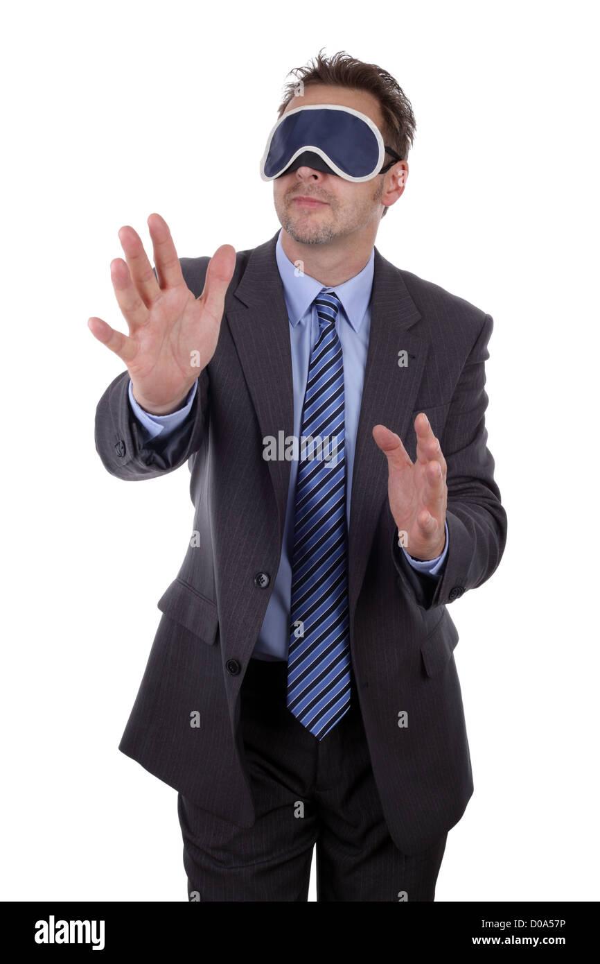 Blindfolded businessman - Stock Image