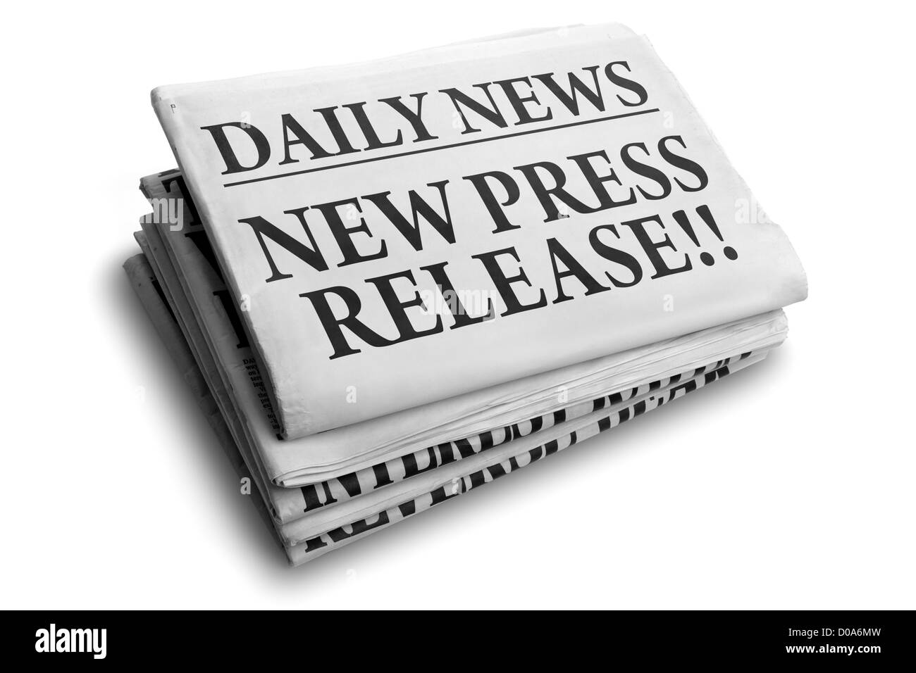 New press release daily newspaper headline - Stock Image
