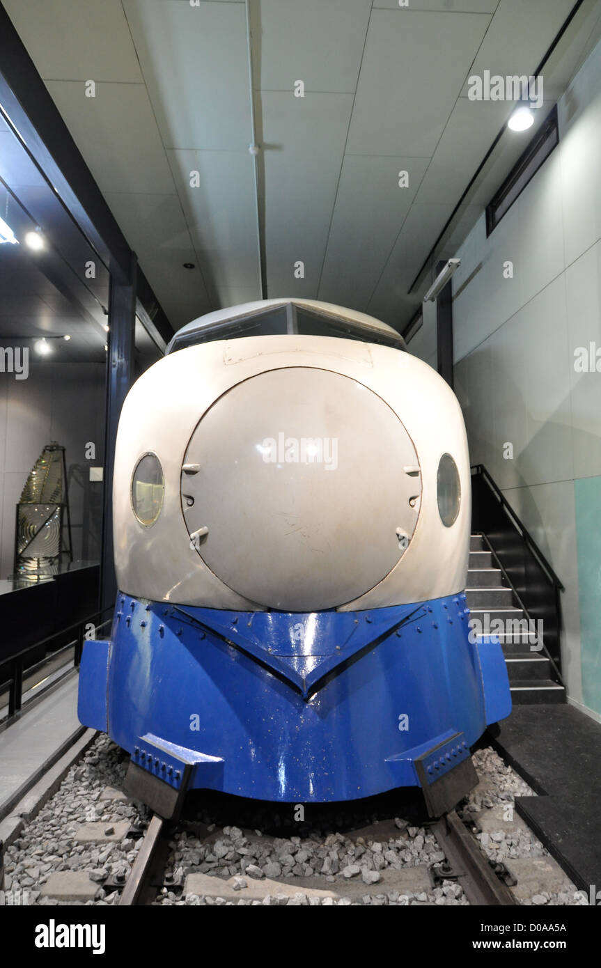 The front of one of Japan's first 'shinkansen' bullet trains. Stock Photo