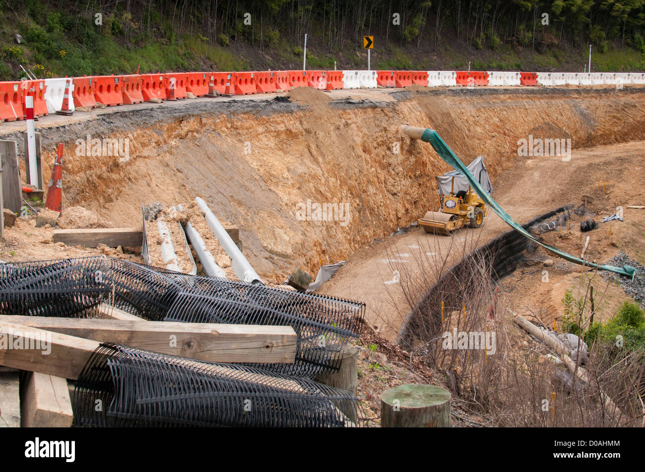 Road construction works on State Highway 27, North Island, New Zealand. - Stock Image
